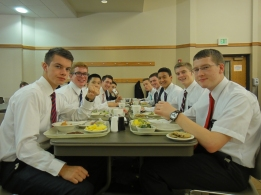the last supper at the MTC - Elder Eady, Elder Liechty, Elder Tsai (my companion), Elder Thompson, Elder Tidwell, Elder Dayley, Elder Miner, Me, Elder Higham, Elder Gram