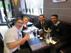 Elder Reiss, Elder Omohundro, Elder Nelson and I getting ready for Sushi